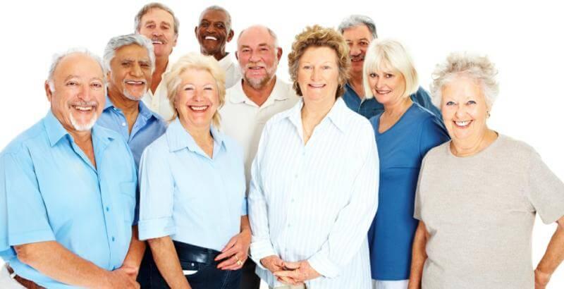 Happy team of senior caregivers