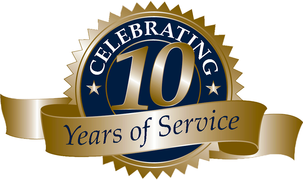 Blue and gold icon/badge with ribbon: celebrating 10 years of service